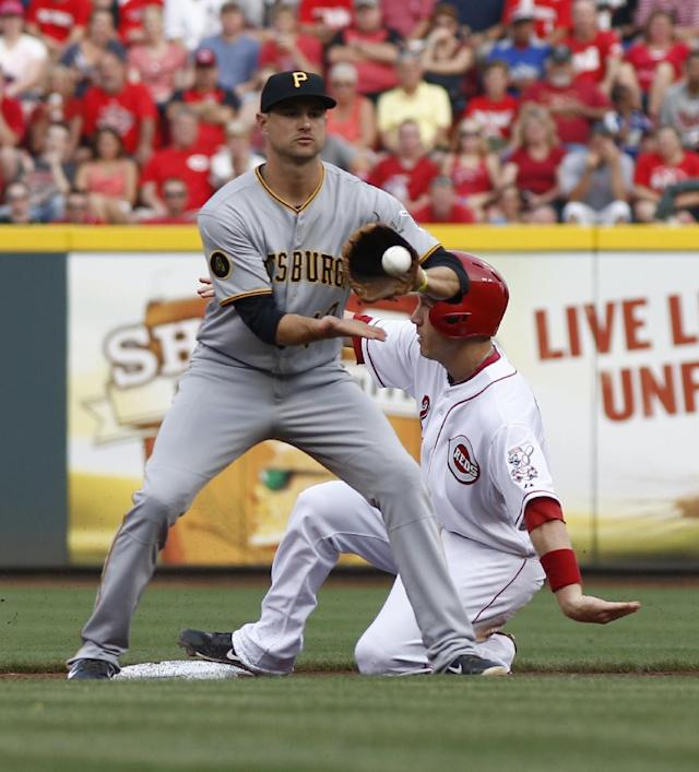 Cincinnati Reds' Todd Frazier, right, slides safely after stealing second base under the Pittsburgh Pirates shortstop Jordy Mercer, left, in the first inning of a baseball game, Saturday, July 12, 2014, in Cincinnati. (AP Photo/David Kohl)
