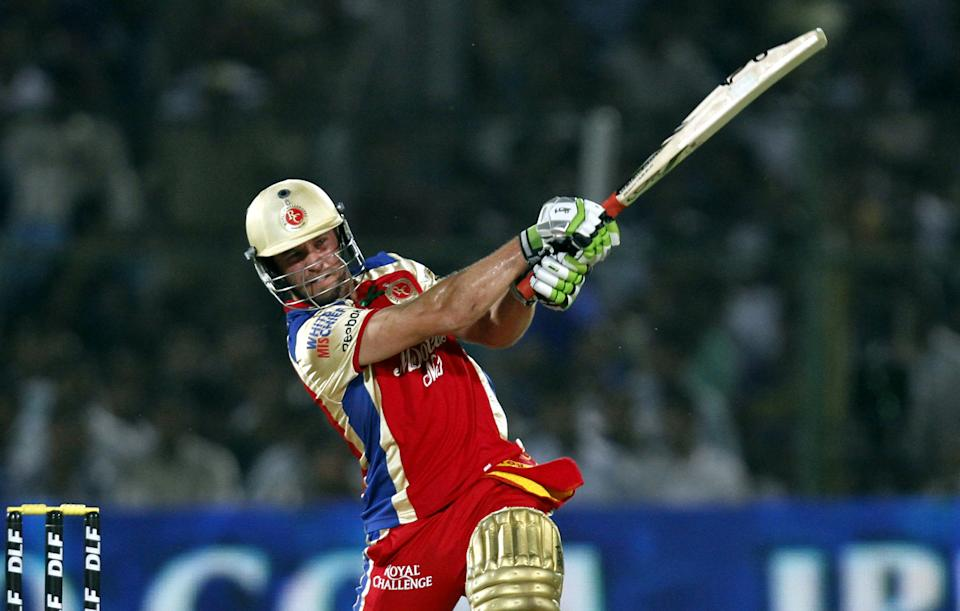 Royal Challengers Bangalore batsman AB de Villiers plays a shot during the IPL 5 T20 cricket match played between Rajasthan Royals and Kings XI Punjab at the Sawai Mann Singh Stadium on April 23, 2012 in Jaipur, India. Batting first after losing the toss Royal Challengers Banglore posted the target of 190 runs to win for Rajasthan Royals. (Photo by Sanjeev Verma / Hindustan Times via Getty Images)