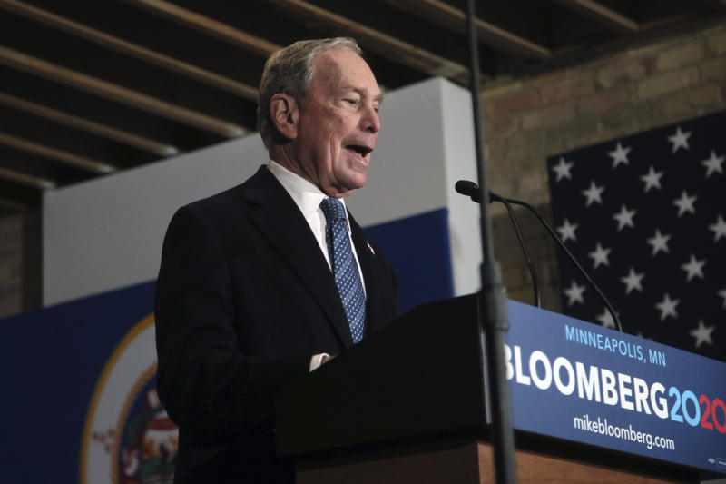 Democratic presidential candidate, former New York City Mayor Michael Bloomberg speaks to campaign workers and supporters in Minneapolis Thursday, Jan. 23, 2020, as he opens the first field office in Minnesota and meets with local community leaders and voters to share his vision for the country. (AP Photo/Jim Mone)