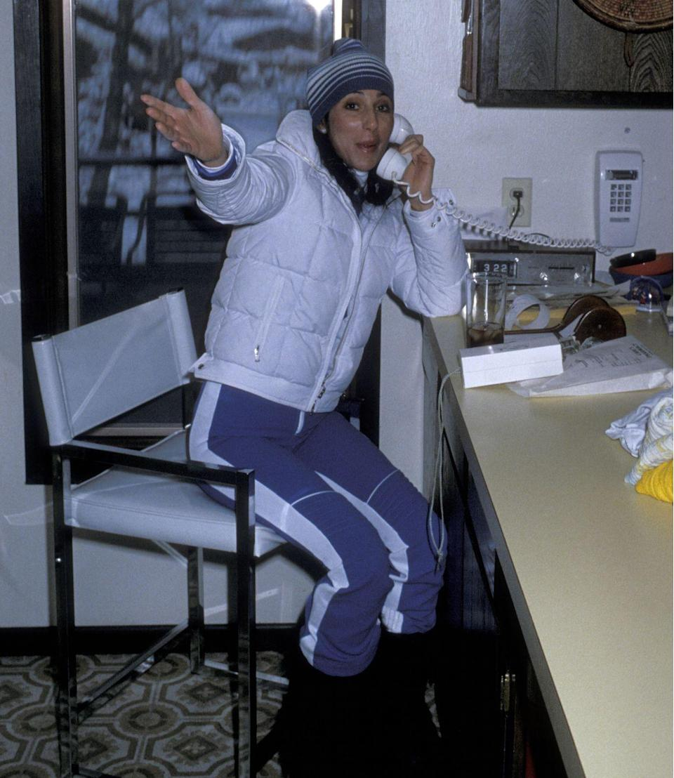 <p>Cher on vacation in Aspen, Colorado.</p><p>Other celebrity visitors this year: Andy Williams, singer Claudine Longet.</p>