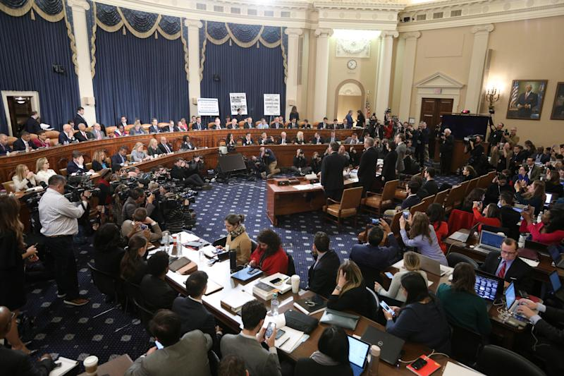 Witnesses are sworn in to testify at a House Judiciary Committee hearing on impeachment