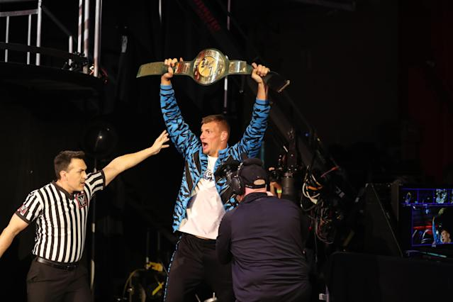 Rob Gronkowski is the new WWE 24/7 champ. (WWE)