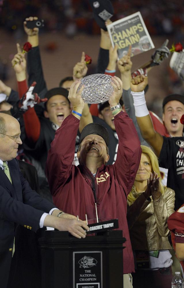 Florida State head coach Jimbo Fisher with The Coaches' Trophy after the NCAA BCS National Championship college football game against Auburn Monday, Jan. 6, 2014, in Pasadena, Calif. Florida State won 34-31. (AP Photo/Mark J. Terrill)