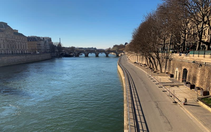 Empty Seine river banks amid COVID-19 restrictions in Paris