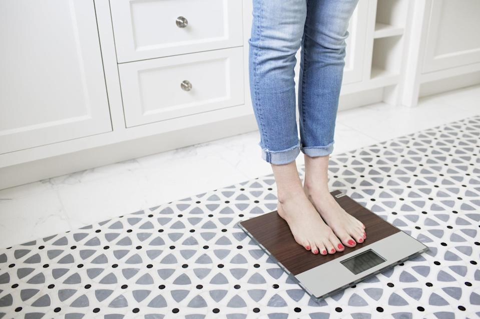 """<p>It may be tempting to step on a scale whenever you see one, but if it's making you feel bad, then give it a break. Although we mentioned earlier that regular weigh-ins can keep you on track, it is possible to overdo it. Keep in mind that the number is not going to change overnight. Allow yourself weekly weigh-ins, but also factor in that what you see isn't always the most accurate measure of weight-loss efforts. You could be building fat-burning muscle, which could be pushing the number up. <a href=""""https://www.popsugar.com/fitness/How-Track-Weight-Loss-Progress-44931887"""" class=""""link rapid-noclick-resp"""" rel=""""nofollow noopener"""" target=""""_blank"""" data-ylk=""""slk:Track your progress"""">Track your progress</a> with measurements or progress photos, too. </p>"""