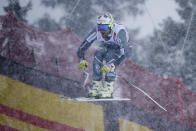 Norway's Kjetil Jansrud competes during the men's downhill at the alpine ski World Championships in Are, Sweden, Saturday, Feb.9, 2019. (AP Photo/Alessandro Trovati)