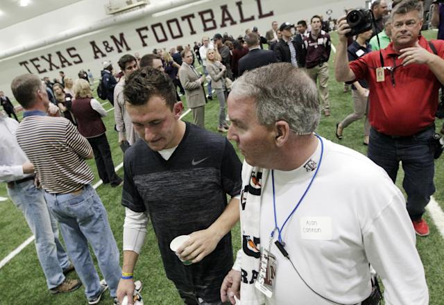 Texas A&M quarterback Johnny Manziel leaves the McFerrin Athletic Center after performing drills at pro day for NFL football representatives in College Station, Texas, Thursday, March 27, 2014. (AP Photo/Patric Schneider)