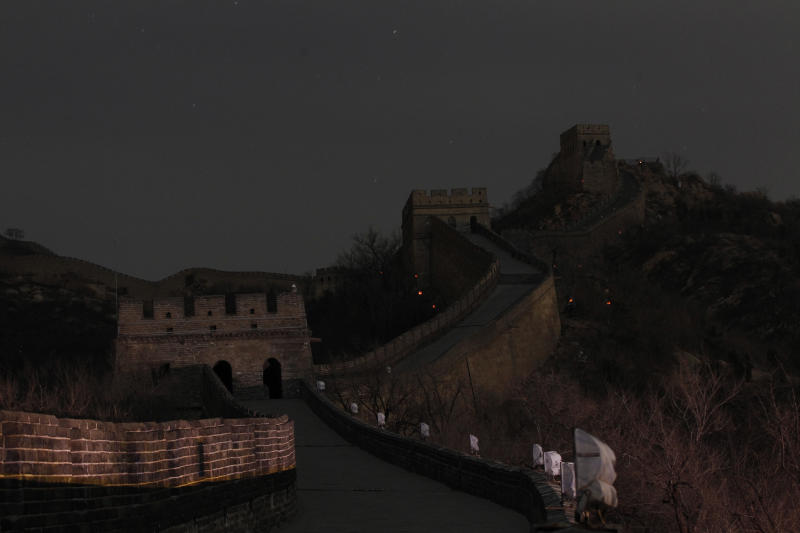The Great Wall of China went dark as the landmark switched off the lights to mark 'Earth Hour' as part of a global effort to shine a spotlight on climate change in north of Beijing, China, Saturday, March 31, 2012. (AP Photo/ Vincent Thian)