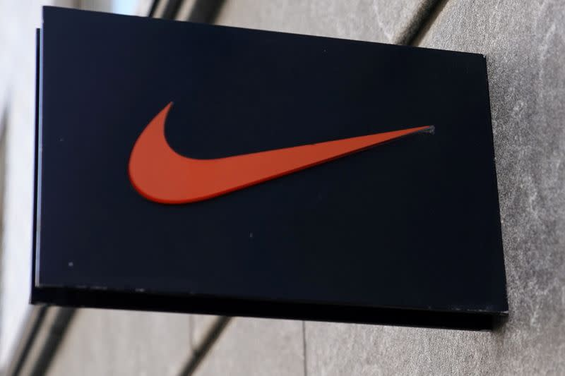 FILE PHOTO: The Nike swoosh logo is pictured on a store in New York City