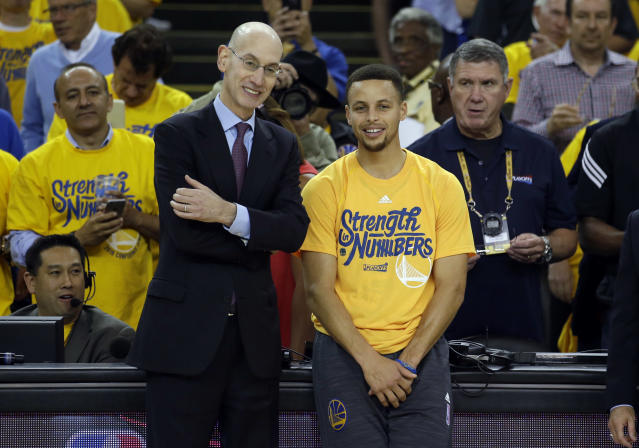 "Adam Silver and <a class=""link rapid-noclick-resp"" href=""/nba/players/4612/"" data-ylk=""slk:Stephen Curry"">Stephen Curry</a> were in agreement on the All-Star draft. (AP)"