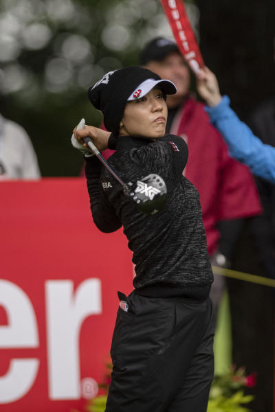 Lydia Ko, of New Zealand, watches her tee shot on the first hole during the first round of the Meijer LPGA Classic golf tournament at Blythefield Country Club on Thursday, June 13, 2019, in Belmont, Mich. (Alyssa Keown/The Grand Rapids Press via AP)