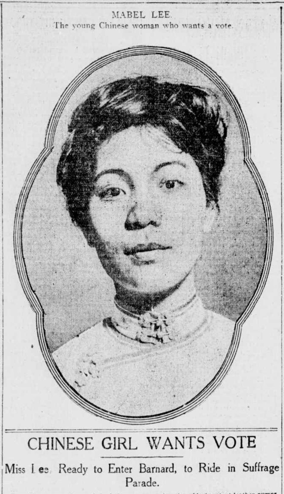 """Chinese suffragist Mabel Lee was profiled in the April 13, 1912, edition of the <i>New-York Tribune</i>.<span class=""""copyright"""">Library of Congress</span>"""