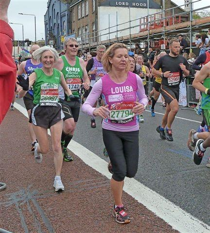 Barbara Ralph at seven miles in the 2015 London Marathon which she finished as 4th woman aged 60-64 (Family handout/PA)