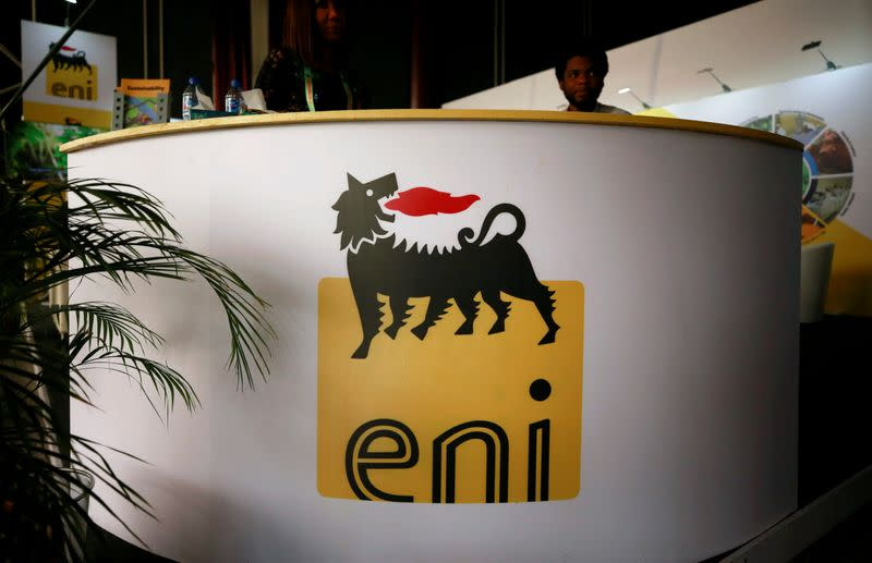 The logo of Italian energy company Eni is seen on a booth stand during the Nigeria International Petroleum Summit in Abuja