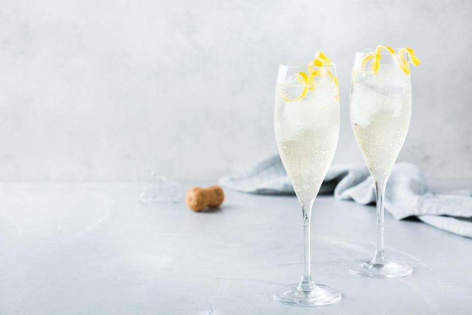 """<p>Perhaps the easiest drink on our list, you can't go wrong with a refreshing champagne cocktail. No champagne? Feel free to use prosecco or cava.</p><p><em><a href=""""https://www.womansday.com/food-recipes/food-drinks/recipes/a38787/classic-champagne-cocktail-recipe-rbk0113/"""" rel=""""nofollow noopener"""" target=""""_blank"""" data-ylk=""""slk:Get the Classic Champagne Cocktail recipe."""" class=""""link rapid-noclick-resp"""">Get the Classic Champagne Cocktail recipe. </a></em></p>"""
