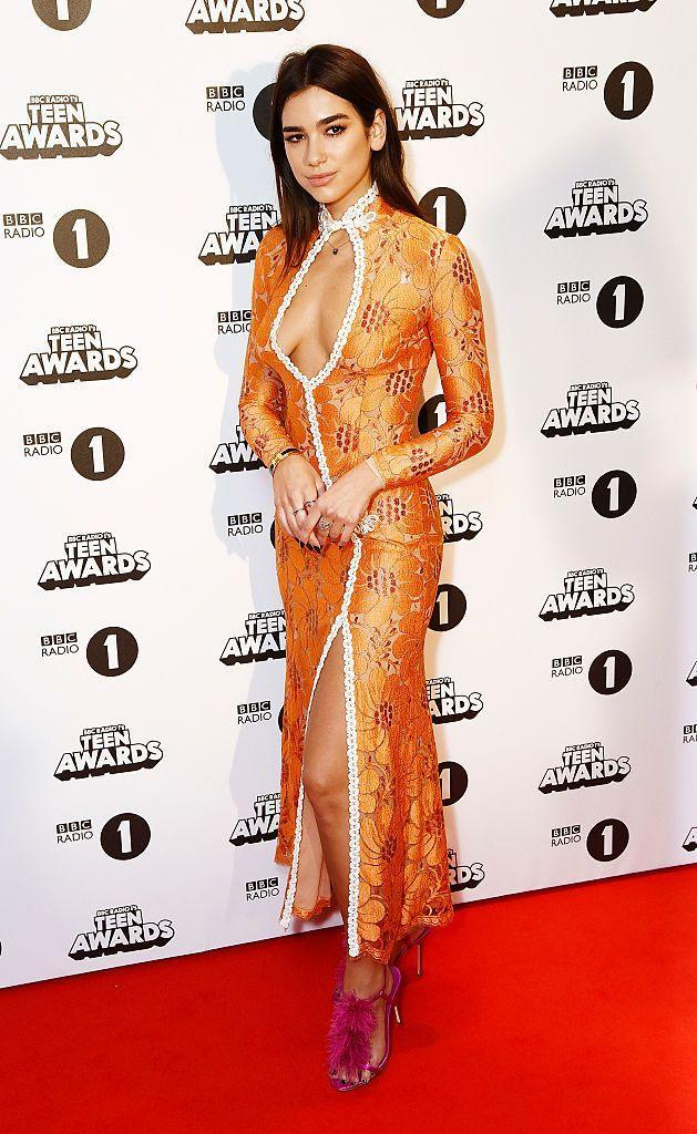 <p>Lipa wore an orange gown to the BBC Radio 1's Teen Awards.</p>