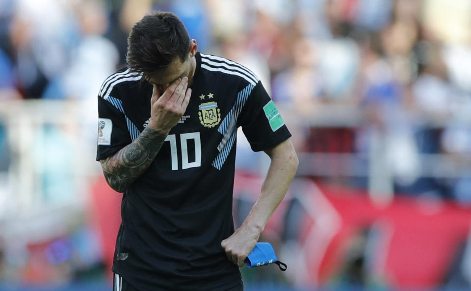 Lionel Messi missed a second-half penalty and Argentina had to settle for a draw against Iceland. (AP)