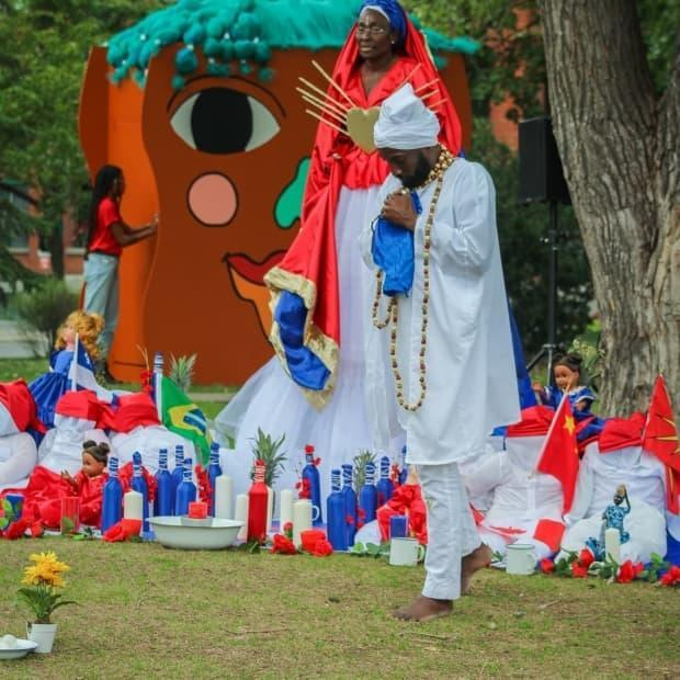 On Saturday, people in Daisy-Peterson-Sweeney park in Little Burgundy were treated to a theatrical performance created by  Dieuvela Etienne, inspired by Haitian traditions around voodoo. (Submitted by Laurent Lafontant - image credit)