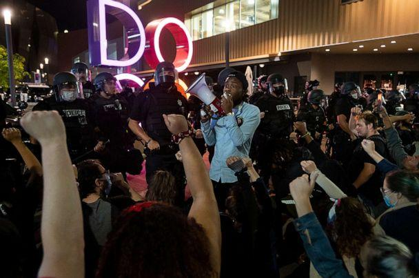 PHOTO: Stevante Clark urges demonstrators to protest safely and non-violently on May 31, 2020 in Sacramento. (Paul Kitagaki, Jr./ZUMA Wire, FILE)