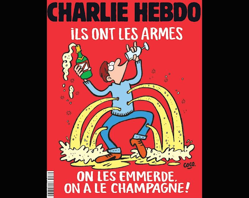 "This handout image obtained from French Satirical magazine Charlie Hebdo on November 17, 2015 shows the cover of the latest edition of the magazine which features its satirical take on the November 13, 2015 terror attack in Paris in which at least 129 people were killed, and a headline which translates as ""They have weapons,  Screw them, We have Champagne"".  "" RESTRICTED TO EDITORIAL USE - MANDATORY CREDIT  "" AFP PHOTO / CHARLIE HEBDO""  -  NO MARKETING NO ADVERTISING CAMPAIGNS   -   DISTRIBUTED AS A SERVICE TO CLIENTS """