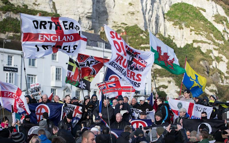 Demonstrations by far-right groups close to the port of Dover in Kent  - Credit:  Joel Goodman/London News Pictures