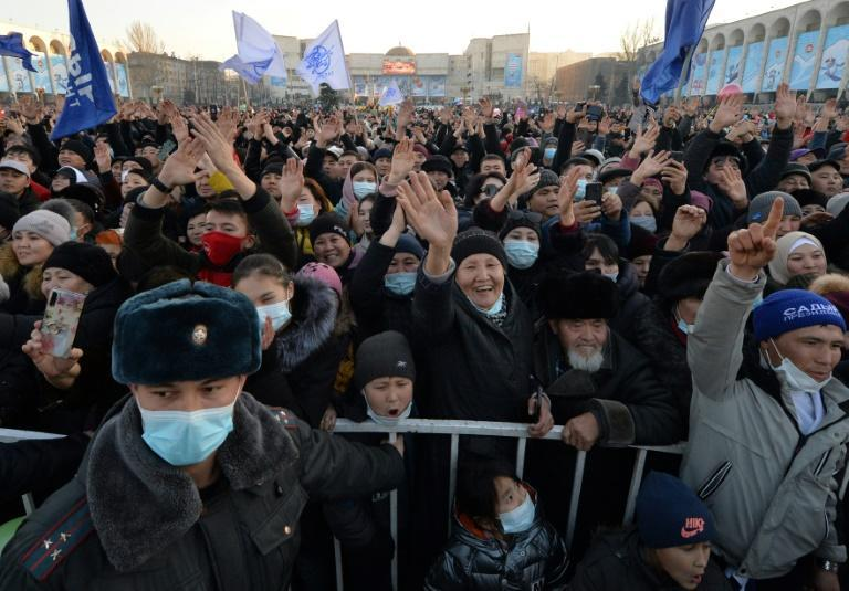 Japarov's supporters at a rally in Bishkek earlier this month