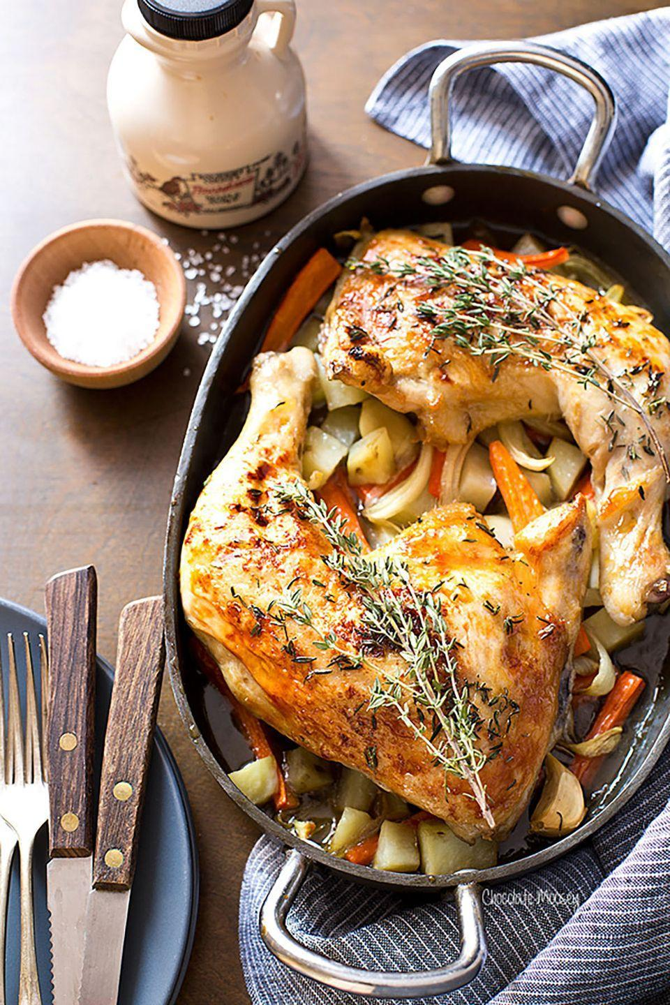 """<p><span class=""""redactor-invisible-space"""">Maple syrup and chicken juice soak into the roasted vegetables below, making this dish a truly unique flavor experience.</span></p><p><strong>Get the recipe at <a href=""""http://www.chocolatemoosey.com/2016/02/11/maple-roasted-chicken-quarters-dinner-for-two/"""" rel=""""nofollow noopener"""" target=""""_blank"""" data-ylk=""""slk:Chocolate Moosey"""" class=""""link rapid-noclick-resp"""">Chocolate Moosey</a>. </strong></p>"""