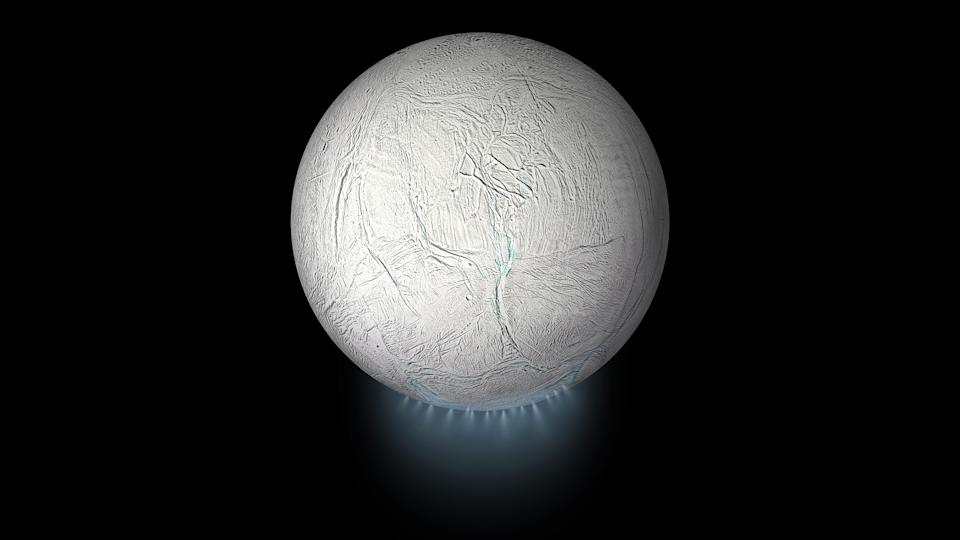 "A new global view of Saturn's icy moon Enceladus shows the tiny satellite's ""tiger stripe"" fissures and frosty plumes in stunning detail. This artist's illustration of Enceladus was created from a global map that scientists working on NASA's Cassini mission stitched together from images that the spacecraft collected during its first 10 years of exploring the Saturn system."
