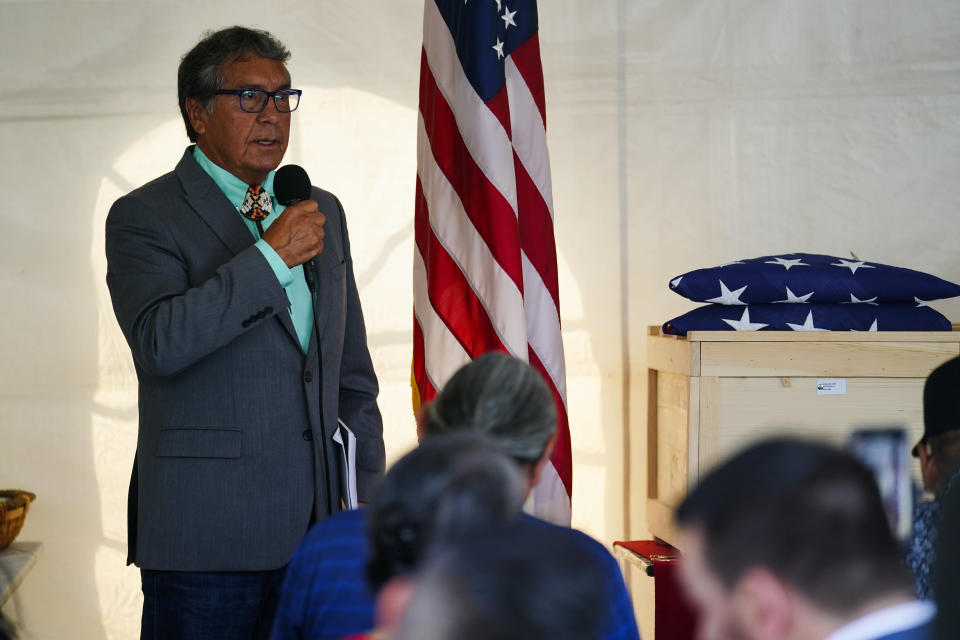 Rosebud Sioux tribal President Rodney Bordeaux speaks during a ceremony at the U.S. Army's Carlisle Barracks, in Carlisle, Pa., Wednesday, July 14, 2021. The disinterred remains of nine Native American children who died more than a century ago while attending a government-run school in Pennsylvania were headed home to Rosebud Sioux tribal lands in South Dakota on Wednesday after a ceremony returning them to relatives. (AP Photo/Matt Rourke)