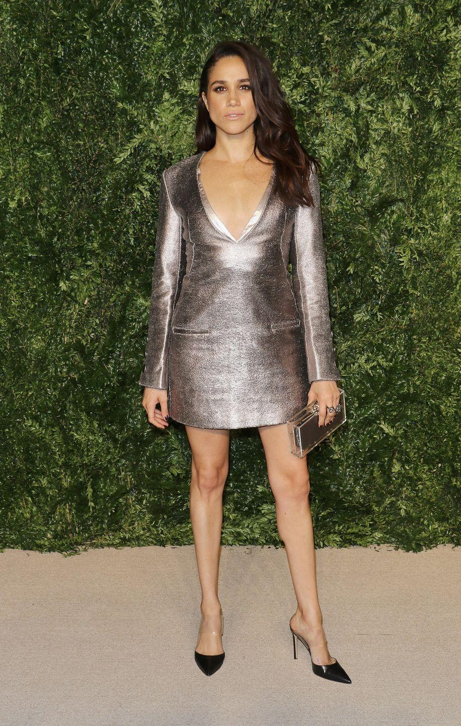 <p>This metallic mini is by one of Meghan's favorite designers Misha Nonoo for the 12th annual CFDA/Vogue Fashion Fund Awards in November 2015.</p>