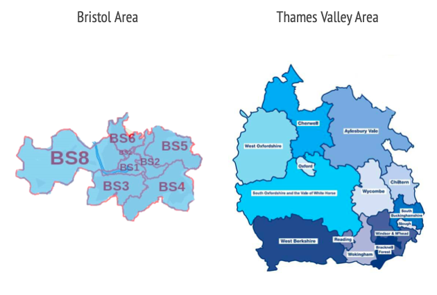 Postcodes in Bristol and Thames Valley where people can volunteer for the vaccine trials. (University of Oxford)