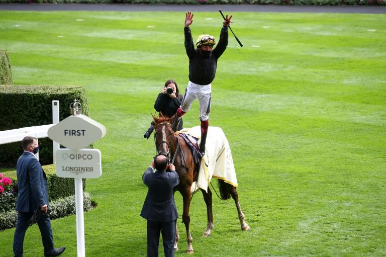Frankie Dettori will be hoping to perform the flying dismount from English King after the Derby as he has done on the same owner Bjorn Nielsen's three-time Ascot Gold Cup winner Stradivarius