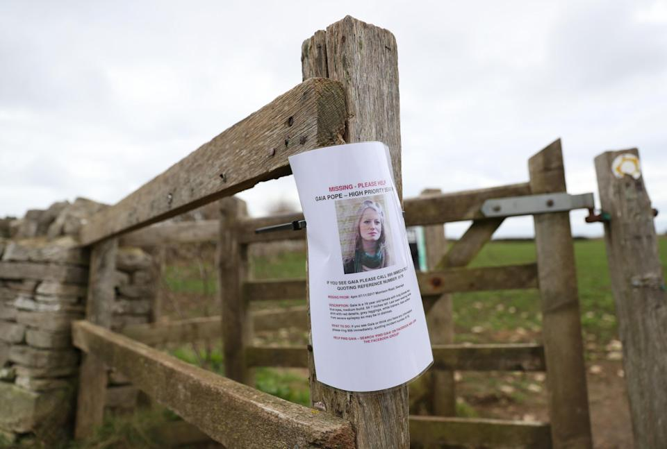 A missing persons poster for Gaia Pope (PA Images)