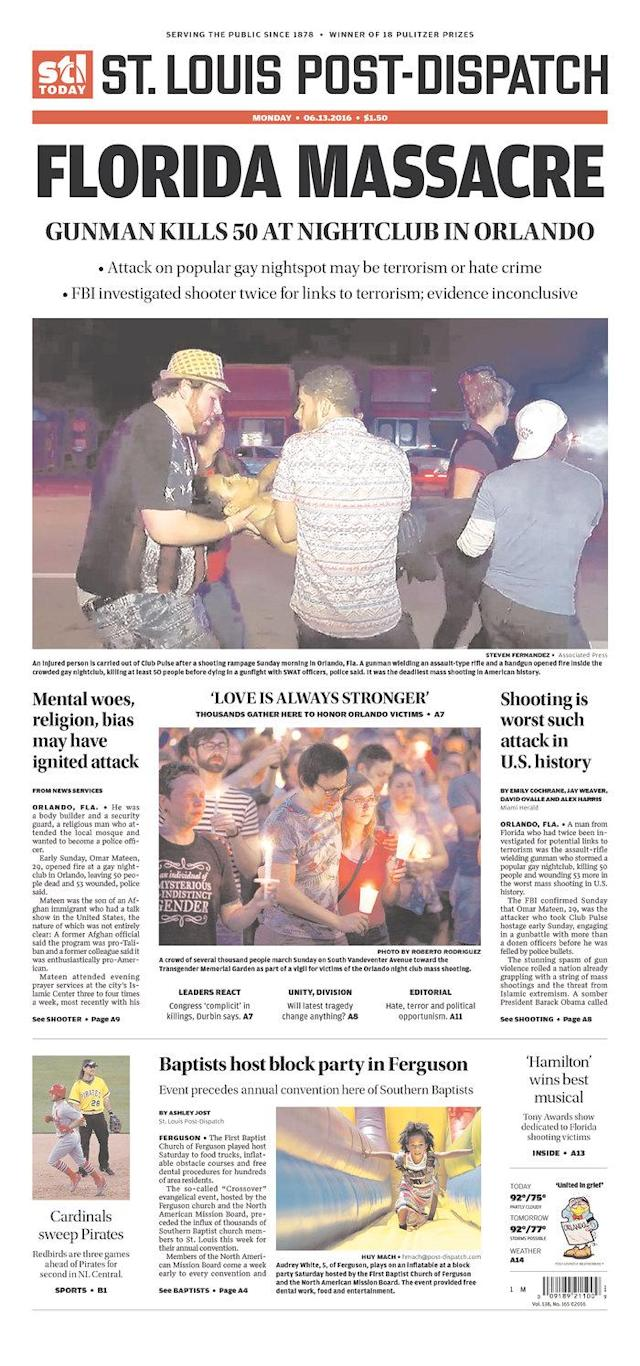 <p>St. Louis Post-Dispatch<br> Published in St. Louis, Mo. USA. (newseum.org) </p>