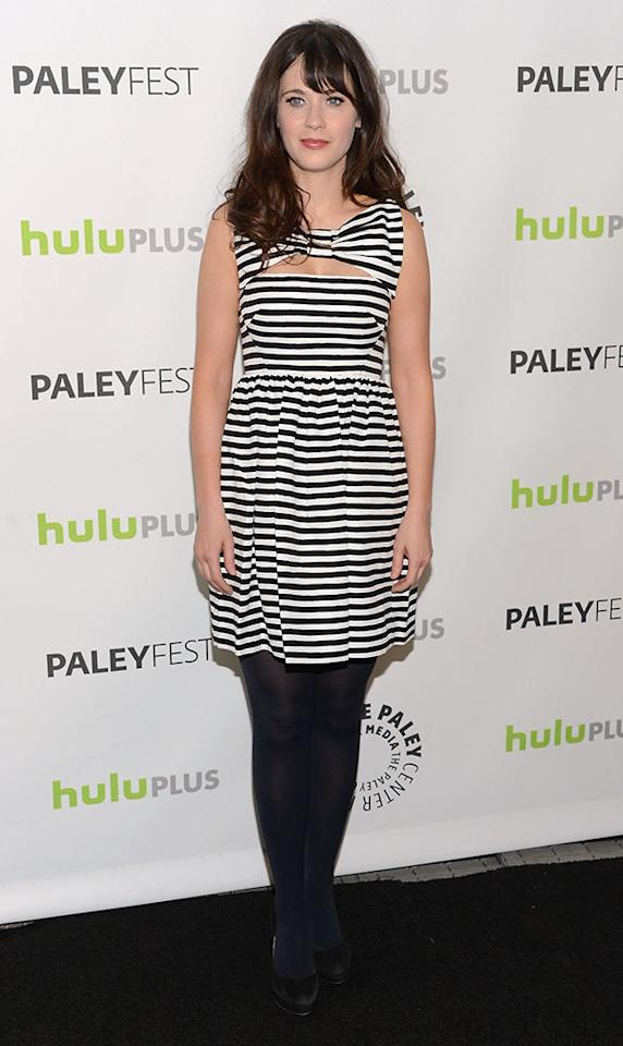 "Zooey Deschanel attends the 30th Annual PaleyFest featuring the cast of ""New Girl"" at Saban Theatre on March 11, 2013 in Beverly Hills, California."