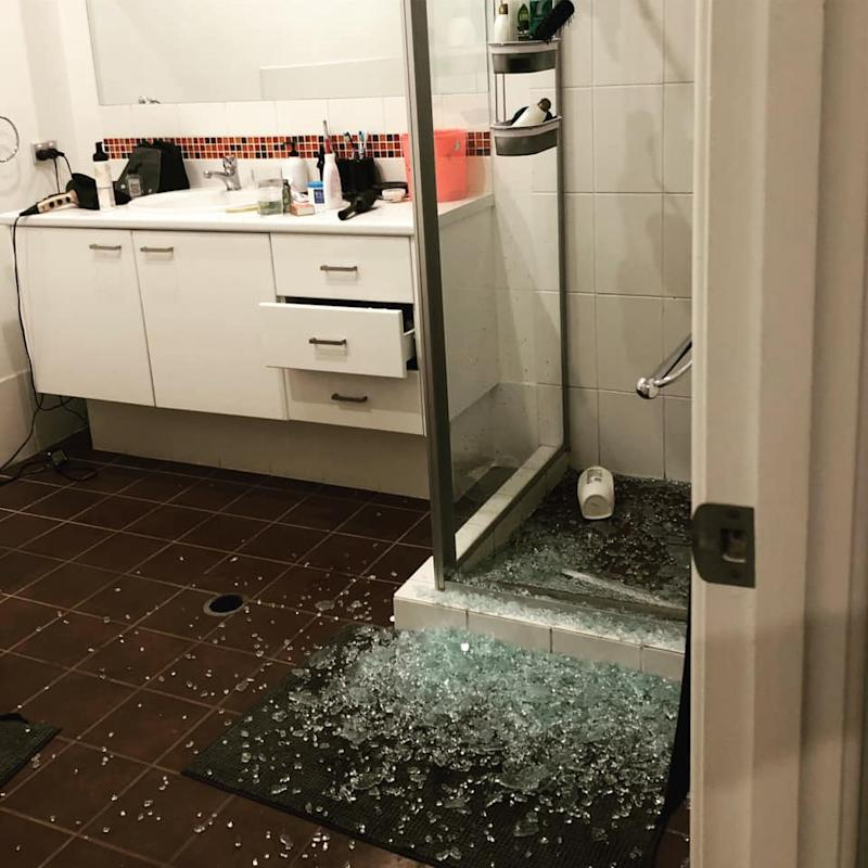 Shattered shower screen in Brisbane home that exploded spontaneously.
