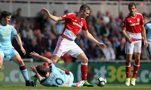 """<span class=""""element-image__caption"""">The defender Ben Gibson will be the target for several top-flight clubs if Middlesbrough are relegated.</span> <span class=""""element-image__credit"""">Photograph: Richard Sellers/PA</span>"""