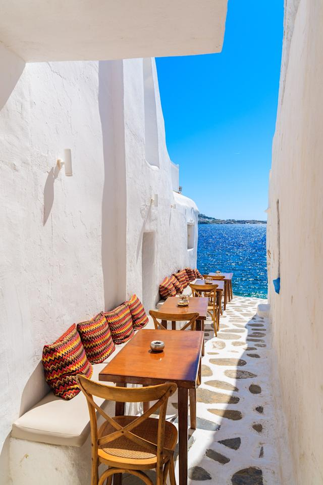 It's difficult to walk the streets of Mykonos without being taken aback by the beauty. Much of this is due to the cobblestone streets, which wind their way around the whitewashed houses. At certain parts of the island, pedestrians will turn on a street to unparalleled views of the sea.
