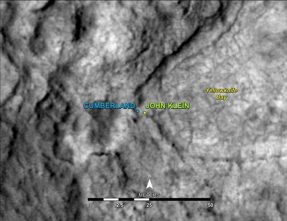 "This map shows the location of ""Cumberland,"" the second rock-drilling target for NASA's Mars rover Curiosity, in relation to the rover's first drilling target, ""John Klein."" Image released May 9, 2013."