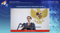 In this image from video released by APEC CEO Dialogues Malaysia 2020, Indonesian President Joko Widodo, speaks at a CEO Dialogue forum via video link, ahead of the Asia-Pacific Economic Cooperation (APEC) leaders' summit, hosted by Malaysia, in Kuala Lumpur, Malaysia, Thursday, Nov. 19, 2020. (APEC CEO Dialogues Malaysia 2020 via AP)