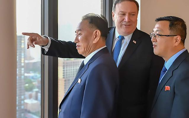 Kim Yong-chol during his meeting with US Secretary of State Mike Pompeo on May 30, in New York - AFP