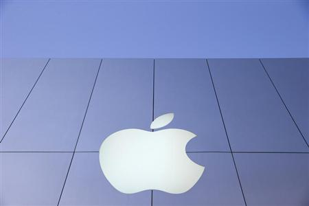 An Apple logo is seen during Black Friday in San Francisco