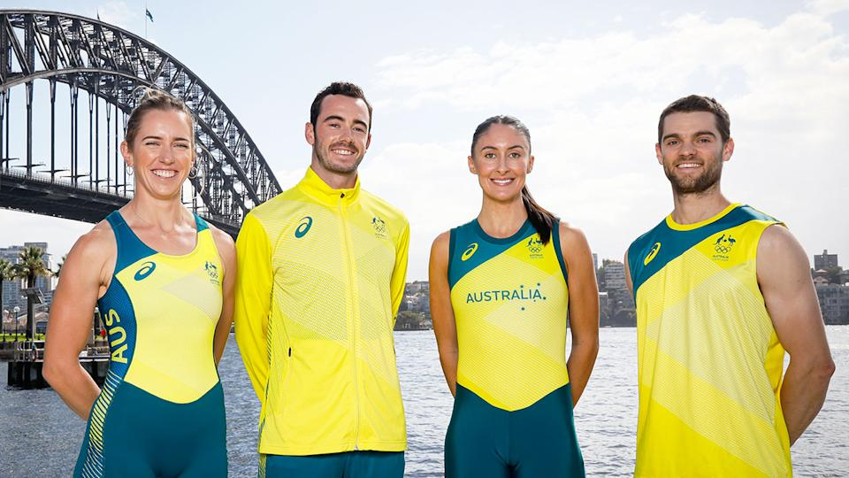 Seen here, members of Australia's Olympic team show off the country's new uniforms.