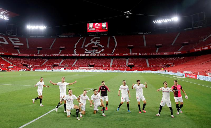 Sevilla beat Real Betis 2-0 in La Liga's return on Thursday after three months away due to the coronavirus pandemic. (REUTERS/Marcelo Del Pozo)
