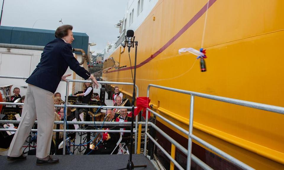 Princess Anne launches the Kirkella in 2019.