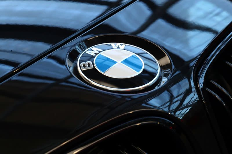 A logo of German luxury carmaker BMW, is seen ahead of the company's annual news conference in Munich