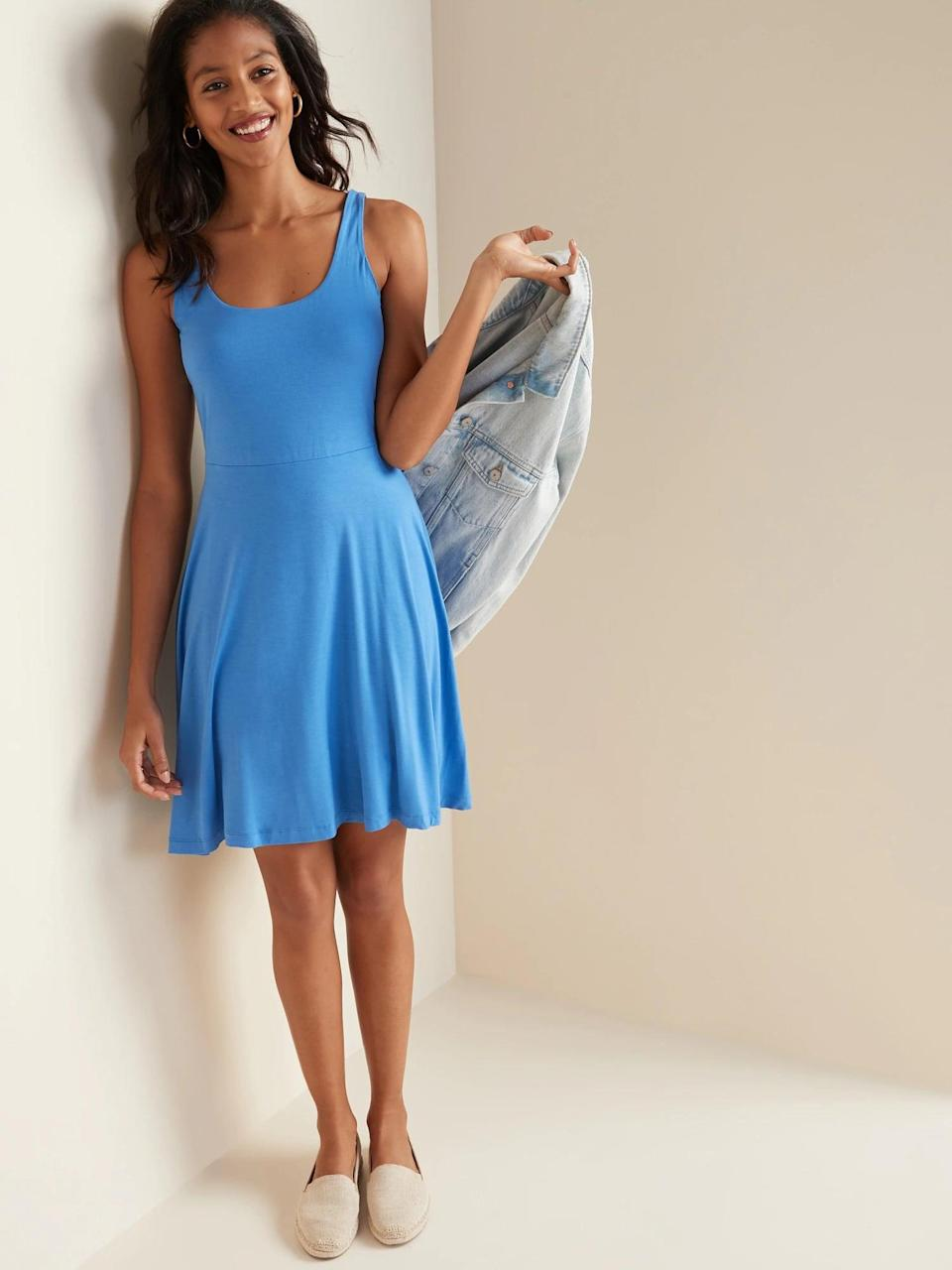 <p>We love how easy it is to dress this <span>Old Navy Sleeveless Fit and Flare Jersey Dress</span> ($25-$30, originally $30) up or down.</p>
