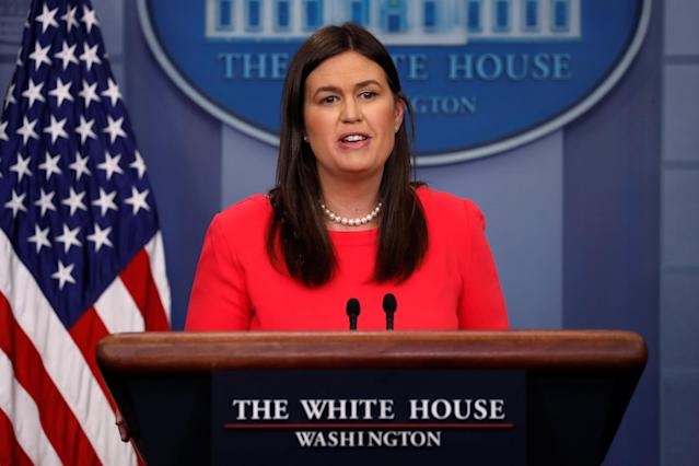 White House press secretary Sarah Sanders speaks during a briefing at the White House on Thursday. (Photo: Jonathan Ernst/Reuters)
