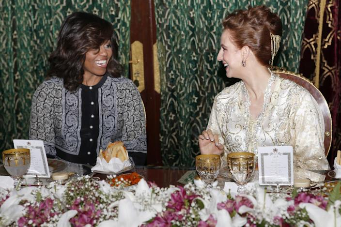 <p>Morocco's Princess Lalla Salma, wife of King Mohammed VI, right, and U.S first lady Michelle Obama, attend an iftar dinner at the King Palace in Marrakech, Morocco, Tuesday, June 28, 2016. (AP Photo/Abdeljalil Bounhar) </p>