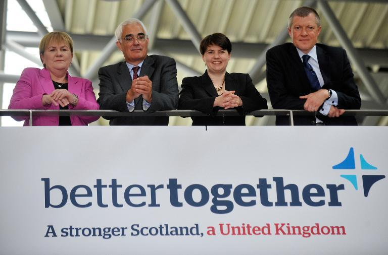 Scottish Labour leader Johann Lamont (L), former Chancellor of the Exchequer Alistair Darling, (2nd L) Scottish Conservative Party Leader Ruth Davidson (2nd R) and Scottish Liberal Democrat Leader Willie Rennie, (R), in Edinburgh on June 25, 2012 (AFP Photo/Andy Buchanan)